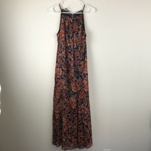 Blue floral maxi dress, NWT, Size Small